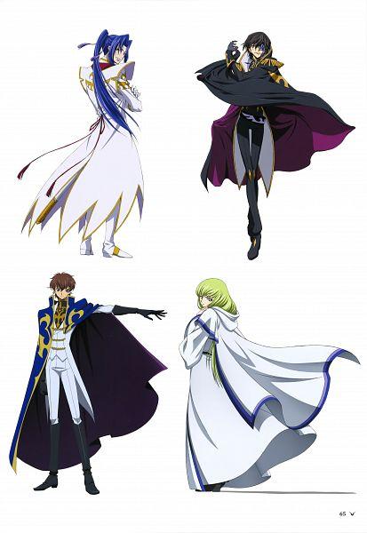 Tags: Anime, Sunrise (Studio), Code Geass: Boukoku no Akito, Shin Hyuuga Shaing, Kururugi Suzaku, C.C., Julius Kingsley, Official Art, Mobile Wallpaper, Scan, Code Geass: Akito The Exiled