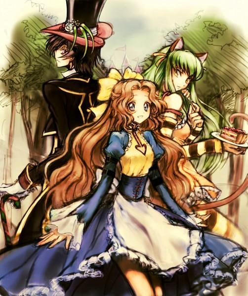 Tags: Anime, Rahit, CODE GEASS: Hangyaku no Lelouch, Code Geass: Nunnally in Wonderland, Lelouch Lamperouge, Nunnally Lamperouge, C.C., Mad Hatter (Cosplay), Pie, Cheshire Cat (Cosplay), Alice in Wonderland (Parody), Alice Liddell (Cosplay), Pixiv