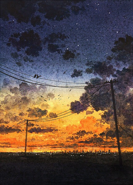 Tags: Anime, Cola Gotouryouta, Dusk/Dawn, Pole, Utility Pole, Pixiv, Mobile Wallpaper, Original