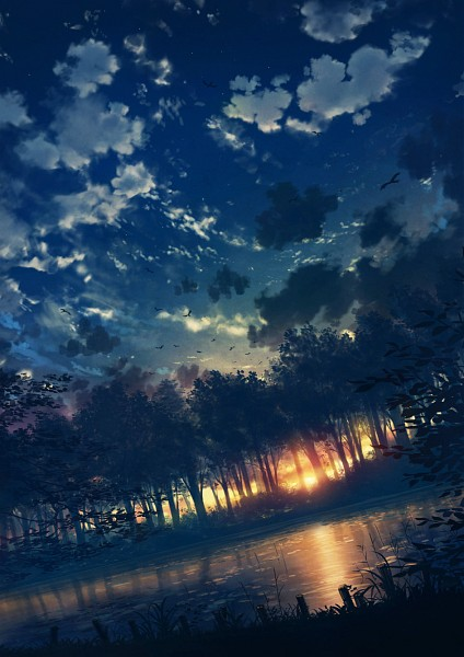 Tags: Anime, Cola Gotouryouta, Dusk, Lake, Mobile Wallpaper