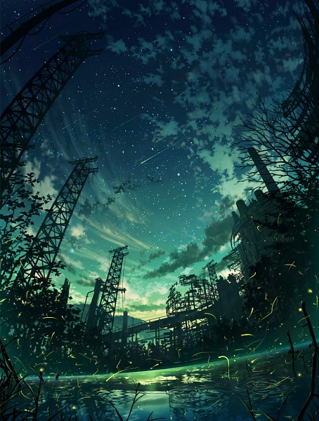 Tags: Anime, Cola Gotouryouta, Water Reflection, Tower, Fireflies, River, Dark Colors, Shooting Stars, Lake, Towers, Mobile Wallpaper, Pixiv, Original