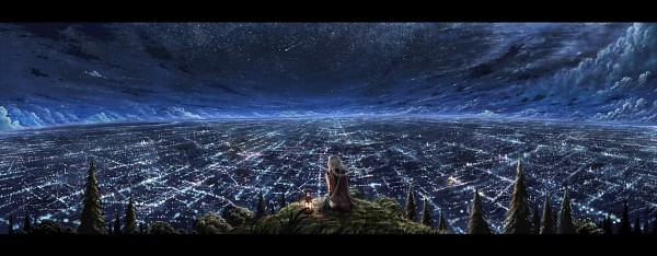 Tags: Anime, Cola Gotouryouta, City Lights, Shooting Stars, Facebook Cover, Original, Pixiv