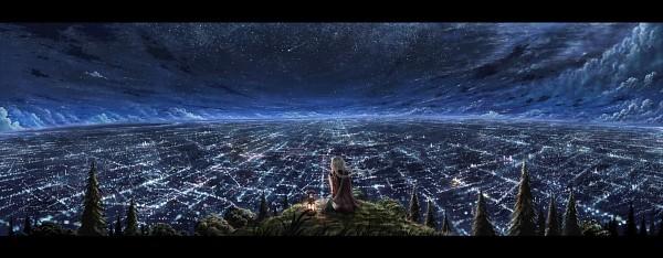 Tags: Anime, Cola Gotouryouta, City Lights, Shooting Stars, Pixiv, Facebook Cover, Original