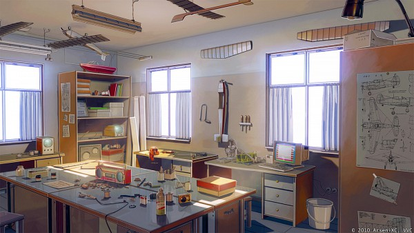 Tags: Anime, iCephei, ArseniXC, Everlasting Summer, Roomscape, Speaker, Shelf, No Character, Original, Collaboration, Facebook Cover, Sketch