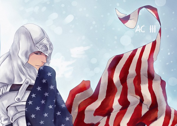 Tags: Anime, Assassin's Creed III, Assassin's Creed, Connor Kenway (Ratohnhaké:Ton), Holding Flag, American Revolutionary War