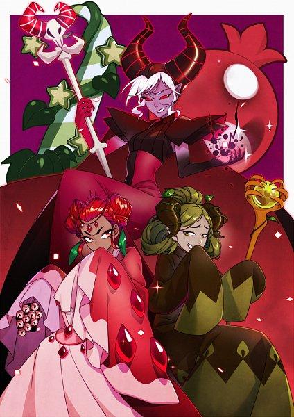Tags: Anime, YuuAbyss, Cookie Run: OvenBreak, Cookie Run, Dark Enchantress Cookie, Matcha Cookie, Pomegranate Cookie, Fanart, Fanart From DeviantART, deviantART