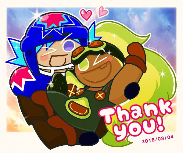 Tags: Anime, Darkerload, Cookie Run: OvenBreak, Cookie Run, Avocado Cookie, Ice Candy Cookie, Text: Thank You, Hockey Mask, Pixiv, Fanart, Fanart From Pixiv