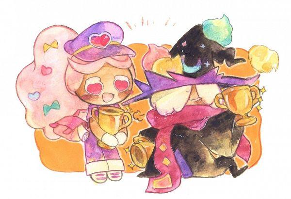 Tags: Anime, Syuragi, Cookie Run: OvenBreak, Cookie Run, Wizard Cookie (Azure Flame Staff), Cotton Candy Cookie, Cotton Candy Cookie (Love Messenger), Wizard Cookie, Purple Headwear, Purple Hat, Trophy, Traditional Media, Fanart