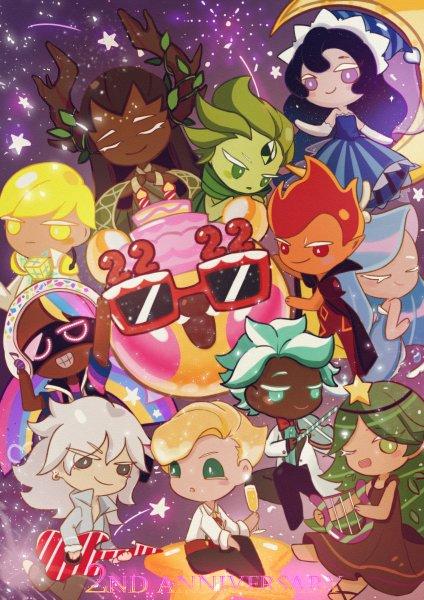 Tags: Anime, Pixiv Id 7563489, Cookie Run: OvenBreak, Cookie Run, Moonlight Cookie, Sparkling Cookie, Mint Choco Cookie, Carol Cookie, Rockstar Cookie, Fire Spirit Cookie, DJ Cookie, Sea Fairy Cookie, Wind Archer Cookie