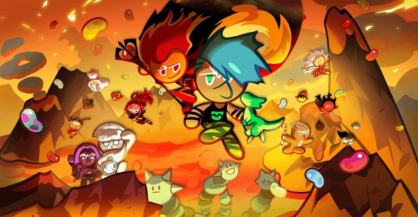 Tags: Anime, Devsisters, Cookie Run: OvenBreak, Cookie Run, Bad Pepper, GingerBrave, Flame Bat, Rockstar Cookie, Chili Pepper Cookie, Furball Pup, Werewolf Cookie, Fire Spirit Cookie, Milk Cookie