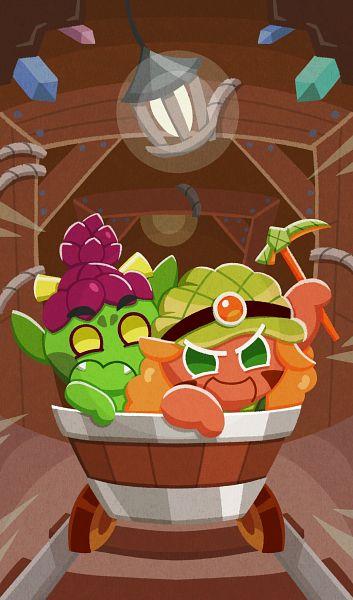 Tags: Anime, Ririko (Pixiv30503181), Cookie Run: OvenBreak, Cookie Run, Goblin Cookie, Melon Bun Cookie, Miner, Mine Car, Pickaxe, Mine, Goblin, Cave, Mobile Wallpaper