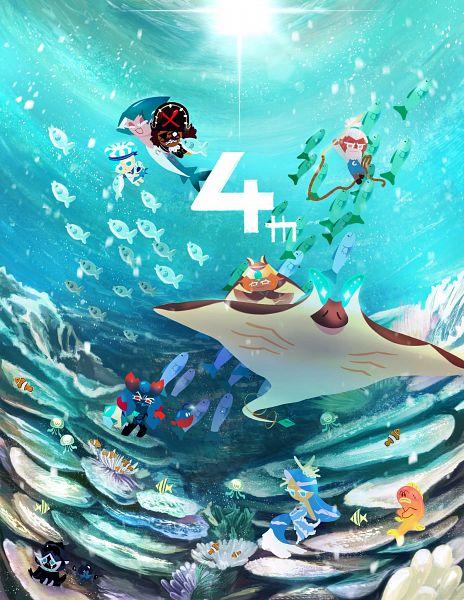 Tags: Anime, Pixiv Id 14904165, Cookie Run: OvenBreak, Cookie Run, Salt Cookie, Sorbet Shark Cookie (Merman), Squid Ink Cookie, Sorbet Shark Cookie, Sea Fairy Cookie, Mocha Ray Cookie, Pirate Cookie, Peppermint Cookie, Lobster Cookie
