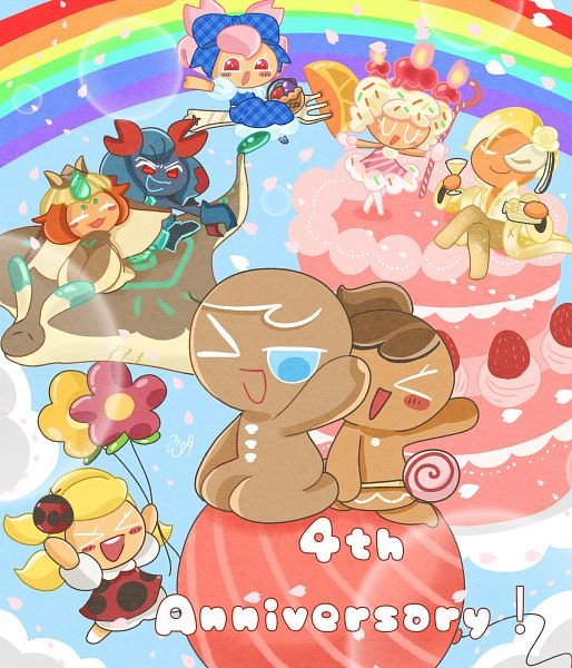 Tags: Anime, Pixiv Id 3888266, Cookie Run: OvenBreak, Cookie Run: Puzzle World, Cookie Run, Apple Cookie (Spring Ladybug), Cherry Blossom Cookie (Sweetest Picnic), Sparkling Cookie, Cherry Blossom Cookie, GingerBright, Mocha Ray Cookie, Apple Cookie, Birthday Cake Cookie