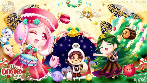 Tags: Anime, Pixiv Id 10388540, Cookie Run, Angel Cookie, Castanets (Cookie Run), Yule Log Cake, Macaron Cookie, Red Bean Cookie, Snow Sugar Cookie, Carol Cookie, Drumsticks, Castanets, Lyre