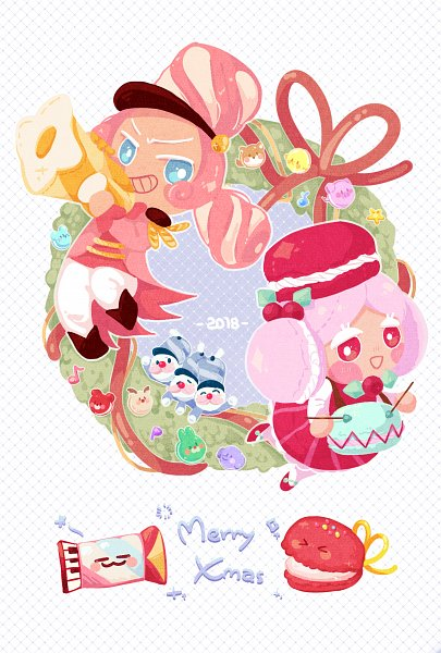 Tags: Anime, Pixiv Id 3829625, Cookie Run: OvenBreak, Cookie Run, Discordeon, Macaron Cookie, Castanets (Cookie Run), Marshmallow Cookie, Trumpet, Drumsticks, Accordian, Drum, Fanart