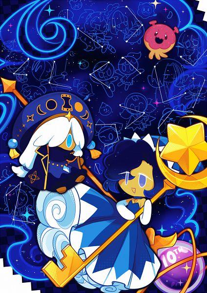 Tags: Anime, pyohato, Cookie Run: OvenBreak, Cookie Run, Moonlight Cookie, Wizard Cookie, Wizard Cookie (Arcane Mage), Space Doughnut, Pixiv, Fanart, Fanart From Pixiv