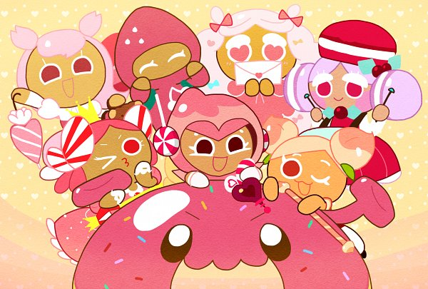 Tags: Anime, Pixiv Id 9522935, Cookie Run: OvenBreak, Cookie Run, Strawberry Cookie, Peach Cookie, Pink Choco Cookie, Cherry Blossom Cookie, Princess Cookie, Macaron Cookie, Space Doughnut, Cotton Candy Cookie, Love Letter