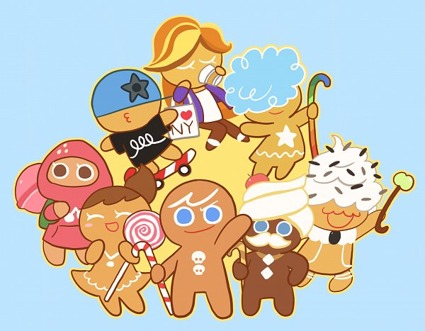 Tags: Anime, Pixiv Id 9522935, Cookie Run, Cream Cookie, Coffee Cookie, Strawberry Cookie, Skater Cookie, GingerBright, Cloud Cookie, GingerBrave, Buttercream Choco Cookie, Skateboard, Fanart From Pixiv