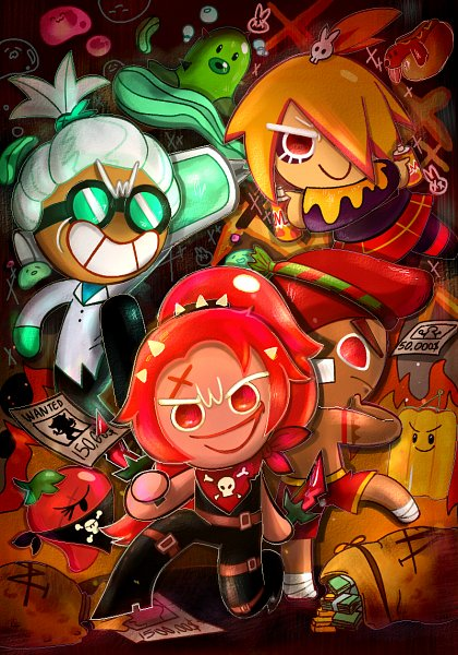 Tags: Anime, Pixiv Id 12812273, Cookie Run: OvenBreak, Cookie Run, Bad Pepper, Chili Pepper Cookie, Paprika Punching Bag, Red Pepper Cookie, Octo Wasabi, Dr. Wasabi Cookie, Hot Doggie, Mustard Cookie, Thief