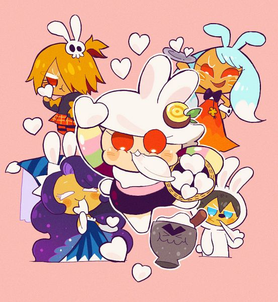 Tags: Anime, Misaki-omoomochiii, Cookie Run: OvenBreak, Cookie Run, Moon Rabbit Cookie, Werewolf Cookie, Mustard Cookie, Kumiho Cookie, Moonlight Cookie, Moon Mortar, Songpyeon, Tumblr, Fanart