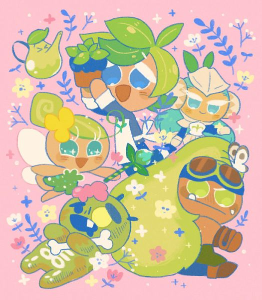 Tags: Anime, Misaki-omoomochiii, Cookie Run: OvenBreak, Cookie Run, Fairy Cookie, Pistachio Cookie, Avocado Cookie, Herb Cookie, Zombie Cookie, Potted Plant, Fanart From Tumblr, Tumblr, Fanart