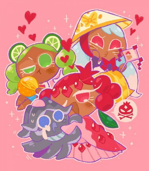 Tags: Anime, Misaki-omoomochiii, Cookie Run: OvenBreak, Cookie Run, Pomegranate Cookie, Lime Cookie, Squid Ink Cookie, Kumiho Cookie, Fanart From Tumblr, Tumblr, Fanart