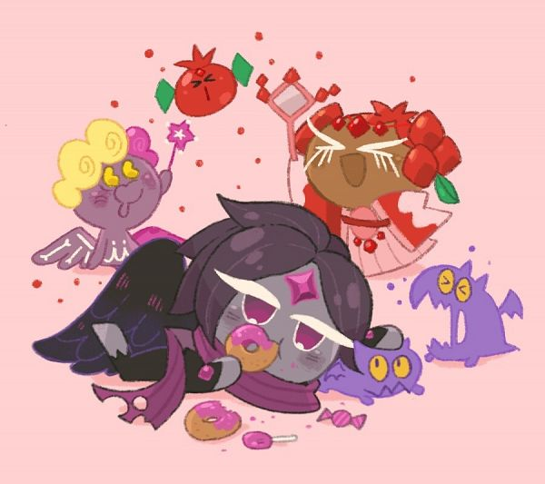 Tags: Anime, Misaki-omoomochiii, Cookie Wars, Cookie Run: OvenBreak, Cookie Run, Angel Cookie, Angel Cookie (Jelly Walker), Pomegranate Cookie, Ruby Pomegranate, Wind Archer Cookie (Night Raven), Jelly Walker, Wind Archer Cookie, Hand Mirror