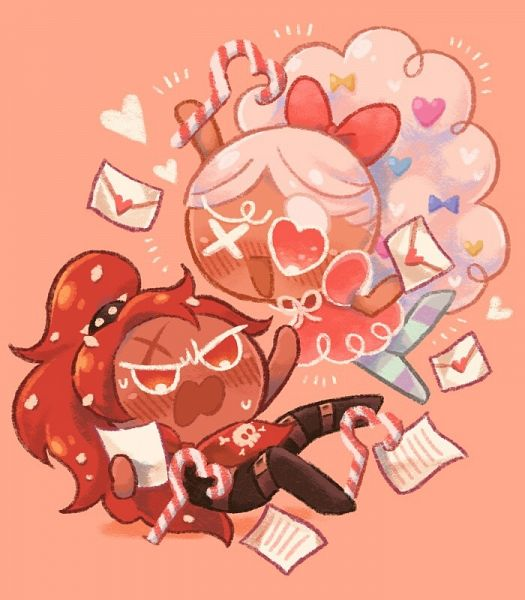 Tags: Anime, Misaki-omoomochiii, Cookie Run: OvenBreak, Cookie Run, Chili Pepper Cookie, Cotton Candy Cookie, Thief, Love Letter, Tumblr, Fanart From Tumblr, Fanart