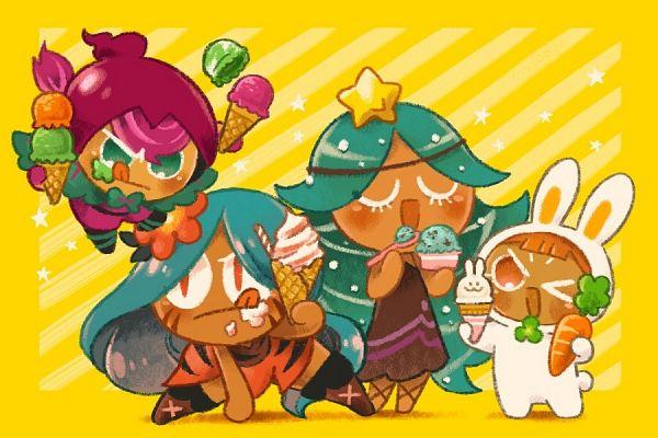 Tags: Anime, Misaki-omoomochiii, Cookie Run: OvenBreak, Cookie Run, Carol Cookie, Tiger Lily Cookie, Beet Cookie, Carrot Cookie, Carrot Cookie (Bouncy Bunny), 900x600 Wallpaper, 3:2 Ratio, Wallpaper, Fanart