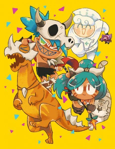 Tags: Anime, Misaki-omoomochiii, Cookie Run: OvenBreak, Cookie Run, Purple Yam Cookie, Milk Cookie, Tiger Lily Cookie (Snow Warrior), Dinosaur Cookie, Tiger Lily Cookie, Reptile, Dinosaur, Fanart, Tumblr