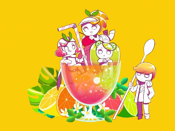 Tags: Anime, Pixiv Id 33369553, Cookie Run: OvenBreak, Cookie Run, Lemon Cookie, Grapefruit Cookie, Orange Cookie, Lime Cookie, Grapefruit, 2048x1536 Wallpaper, Lime (Fruit), Lemon, Straw