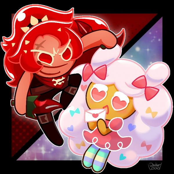 Tags: Anime, Darkerload, Cookie Run: OvenBreak, Cookie Run, Cotton Candy Cookie, Chili Pepper Cookie, Love Letter, Thief, Pixiv, Fanart, Fanart From Pixiv