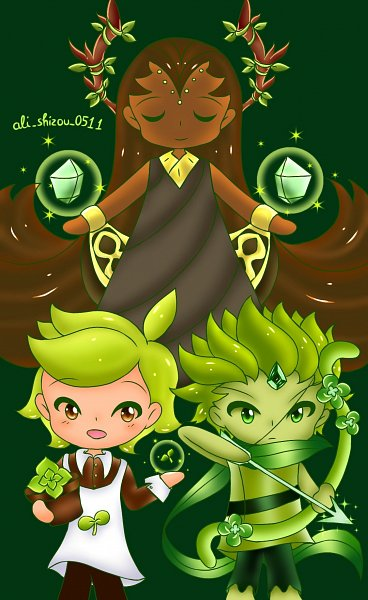 Tags: Anime, Ali Shizou, Cookie Run: OvenBreak, Cookie Run, Herb Cookie, Wind Archer Cookie, Millennial Tree Cookie, Potted Plant, Twitter, Fanart