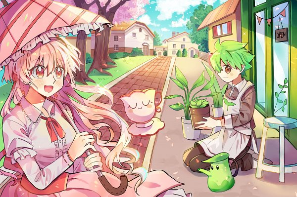 Tags: Anime, Hedy1006, Cookie Run, Herb Teapot, Tea Cup (Cookie Run), Herb Cookie, Cherry Blossom Cookie, Store, Brown Shirt, Potted Plant, Fanart, Twitter