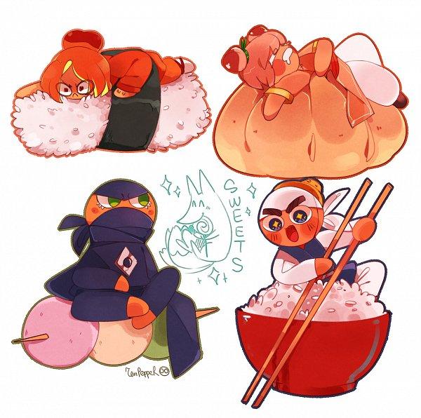Tags: Anime, Zen Pepper, Cookie Run: OvenBreak, Cookie Run, Plum Cookie, Peach Cookie, Ninja Cookie, Rebel Cookie, Rice, Fanart From Tumblr, Fanart, Tumblr
