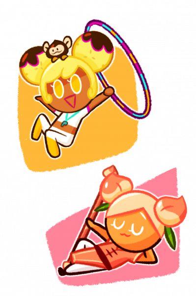 Tags: Anime, Ririko (Pixiv30503181), Cookie Run, Banana Cookie, Peach Cookie, Choco Monkey, Whistle (Object), Hoop, Tumblr, Fanart From Tumblr, Fanart