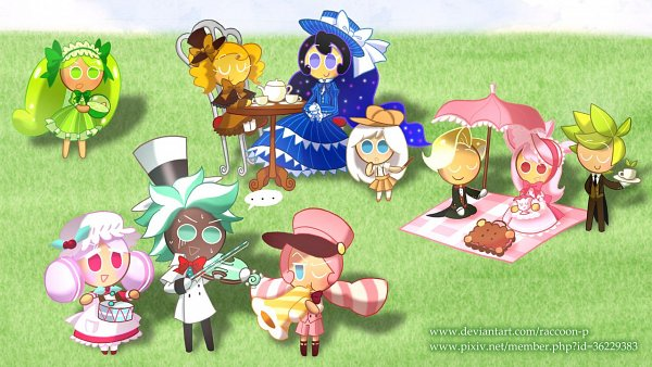 Tags: Anime, Raccoon-P, Cookie Run: OvenBreak, Cookie Run, Moonlight Cookie, Herb Cookie, Mint Choco Cookie, Sparkling Cookie, Lime Cookie, Cheesecake Cookie, Marshmallow Cookie, Cherry Blossom Cookie, Cream Puff Cookie