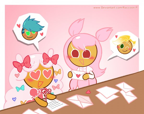 Tags: Anime, Raccoon-P, Cookie Run: OvenBreak, Cookie Run, Cherry Blossom Cookie, Dinosaur Cookie, Sparkling Cookie, Cotton Candy Cookie, Love Letter, Writing, Pixiv, Fanart, Fanart From Pixiv