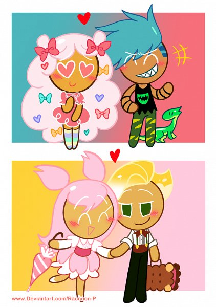 Tags: Anime, Raccoon-P, Cookie Run: OvenBreak, Cookie Run, Sparkling Cookie, Cotton Candy Cookie, Cherry Blossom Cookie, Dinosaur Cookie, Holding Bag, Fanart From Pixiv, Pixiv, Fanart