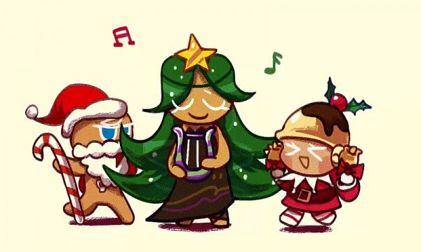Tags: Anime, Foresart, Cookie Run: OvenBreak, Cookie Run, Pudding Cookie, Santa Claus, Ginger Claus, Carol Cookie, GingerBrave, Brown Dress, Lyre, Downscale, Animated GIF