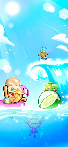 Tags: Anime, Devsisters, Cookie Run: OvenBreak, Cookie Run, Soda Cookie, Cherry Cookie, Cherry Cookie (Water Bomb), Soda Cookie (Tropical Fruit Punch), Peach Cookie (Beach Party), Peach Cookie, Lime Cookie, 1125x2436 Wallpaper, Mobile Wallpaper