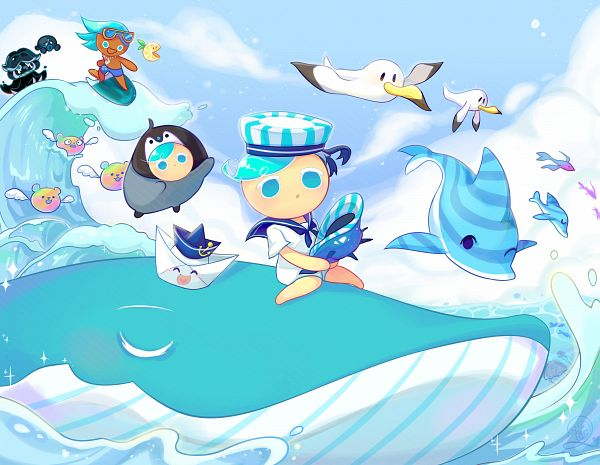 Tags: Anime, Annisa Miranti, Cookie Run: OvenBreak, Cookie Run, Soda Cookie, Inktopus, Squid Ink Cookie, Peppermint Cookie (Baby Penguin), Paper Boat Sailor, Peppermint Cookie, Lemon Slice (Cookie Run), Octopus, Penguin Outfit
