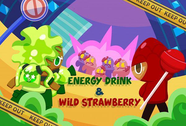 Tags: Anime, Ririko (Pixiv30503181), Cookie Wars, Cookie Run, Wild Strawberry Cookie, Gingerbrave Jelly Walker, Strawberry Cookie, GingerBrave, Energy Drink Cookie, Twitter, Fanart