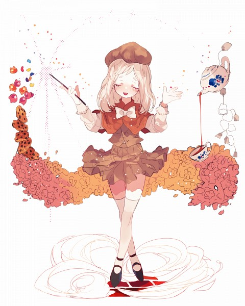 Tags: Anime, Pixiv Id 4282910, Cookie Run, Cream Puff Cookie, Hikimayu, Brown Hat, Brown Skirt, Crossed Legs (Standing), Orange Outerwear, Pixiv, Fanart, Fanart From Pixiv