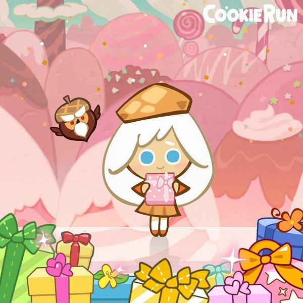 Tags: Anime, Devsisters, Cookie Run, Owlcorn, Cream Puff Cookie, Orange Footwear, Holding Gift, Official Art, Twitter