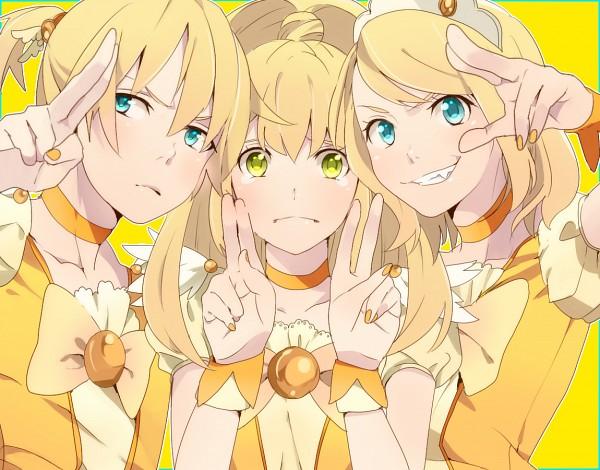 Tags: Anime, Pixiv Id 1122364, Smile Precure!, VOCALOID, Kagamine Rin, Kise Yayoi, Kagamine Len, Characteristic Connection, Cure Peace (Cosplay), Pixiv