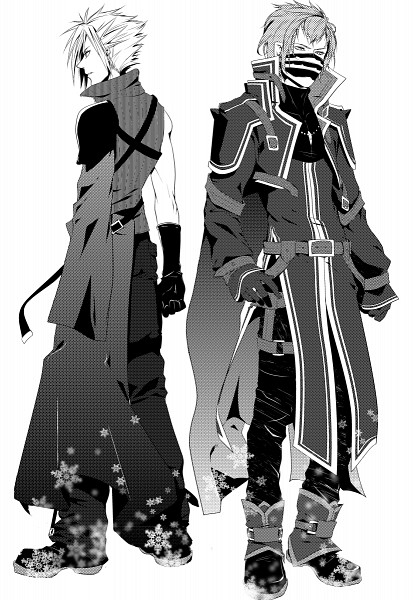 Tags: Anime, Pixiv Id 2846076, Final Fantasy VII, Final Fantasy Type-0, Cloud Strife, Kurasame (Final Fantasy Type-0), Fanart From Pixiv, Mobile Wallpaper, Pixiv, Fanart