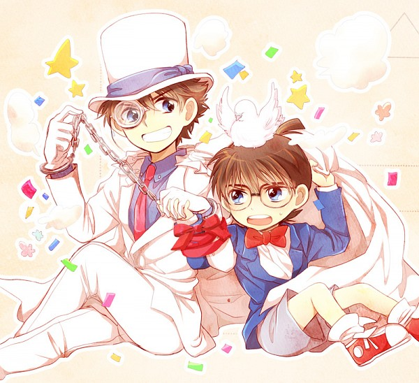 Tags: Anime, Hanako (Pixiv548814), Meitantei Conan, Magic Kaito, Kaitou Kid, Edogawa Conan, Kuroba Kaito, White Bird, Fanart, Pixiv, Fanart From Pixiv