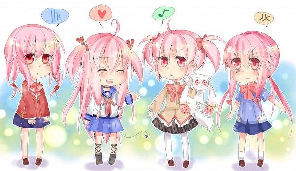 Tags: Anime, Pixiv Id 1977377, Mirai Nikki, GUILTY CROWN, Mahou Shoujo Madoka☆Magica, Angel Beats!, Yuzuriha Inori, Yui (Angel Beats!), Kyubee, Kaname Madoka, Gasai Yuno, Glaring, Characteristic Connection