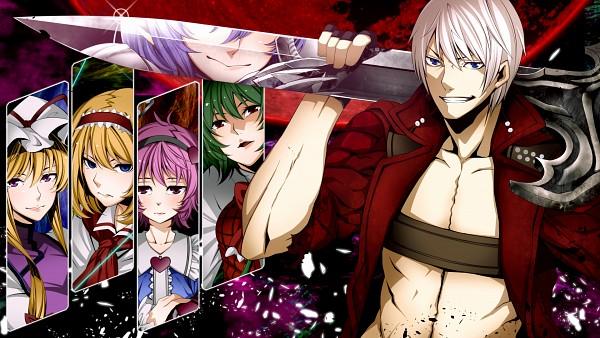 Tags: Anime, Torio K, Touhou, Devil May Cry, Alice Margatroid, Dante, Remilia Scarlet, Yakumo Yukari, Kazami Yuuka, Komeiji Satori, HD Wallpaper, Wallpaper